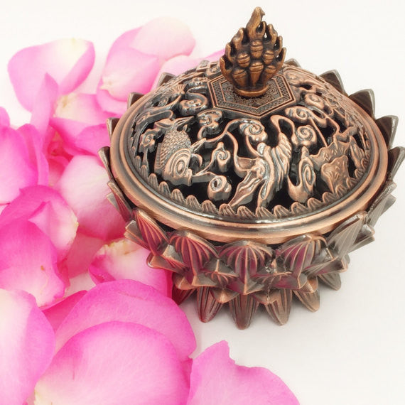 Lotus Copper Alloy Incense Burner PLUS Bakhoor!!!