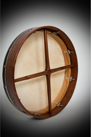 ROOSEBECK TUNABLE SHEESHAM BODHRAN CROSS-BAR DOUBLE-LAYER NATURAL HEAD 18-BY-3.5-INCH