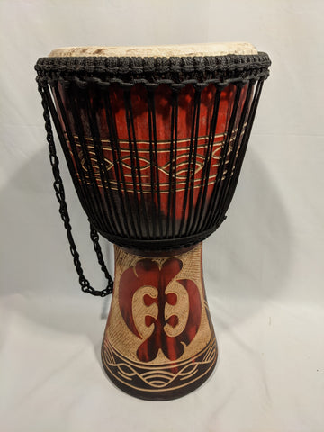 "11"" Djembe - Ghana - Red Carved Shell"
