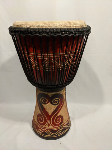 "13"" Djembe - Ghana - Red Shell Carved"