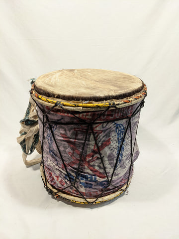 Purple Cloth Covered Double Headed Drum w/ Shoulder Strap