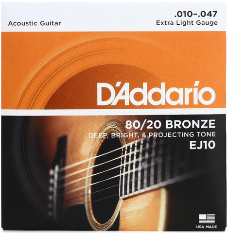 D'Addario - Acoustic Guitar Strings #EJ10 - Bronze - Extra Light Gauge