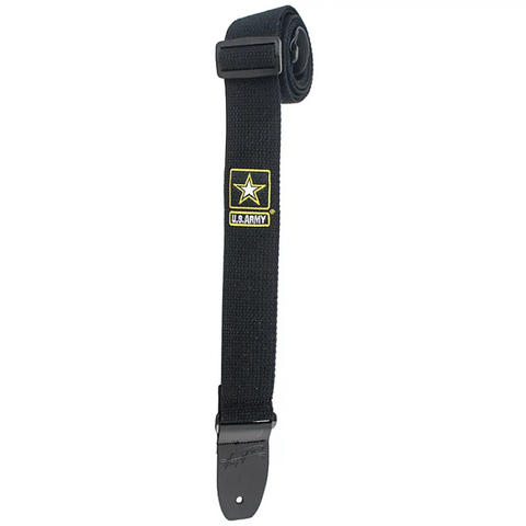 Henry Heller - 2-Inch Cotton Guitar Strap with Offical US Army Logo - Black