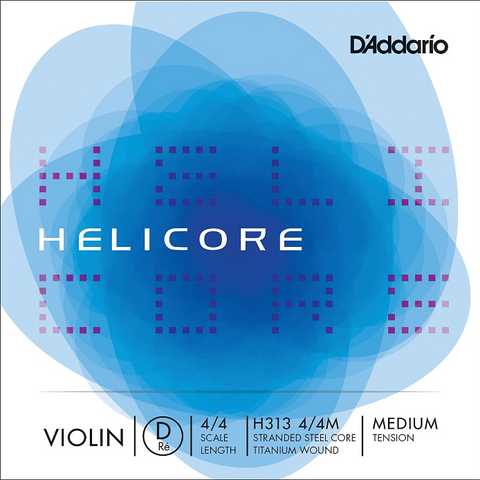 D'Addario - Helicore - Violin Single D String - 4/4 Scale - Medium Tension