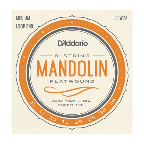 D'Addario - Mandolin Loop End Strings #EFW74 - Flatwound Stainless Steel - Medium Gauge