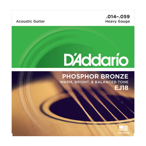 D'Addario - Acoustic Guitar Strings #EJ18 - Phosphor Bronze - Heavy Gauge