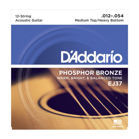 D'Addario - 12 String Acoustic Guitar Strings #EJ37 - Phosphor Bronze - Medium/Heavy