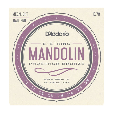 D'Addario- Mandolin Strings #EJ70 - Phosphor Bronze  8 String - Med/Light Ball End