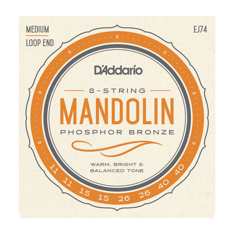 D'Addario - Mandolin Strings #EJ74 - Phosphor Bronze - Medium Loop End