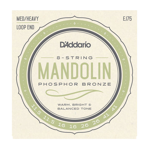 D'Addario  - Mandolin Strings #EJ75 - Phosphor Bronze - Med/Heavy Loop End