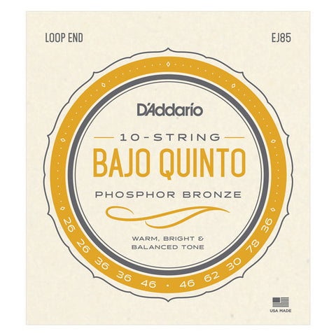 D'Addario - Bajo Quinto Strings  - Loop End - 10 Strings - EJ85
