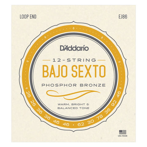 D'Addario - Bajo Sexto Strings  - Loop End - 12 Strings - EJ86