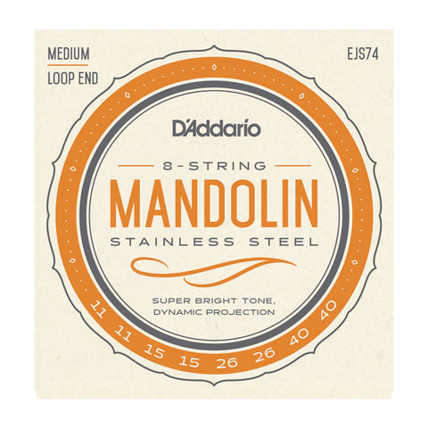 D'Addario- Mandolin Loop End Strings #EJS74 - Stainless Steel - Medium Gauge