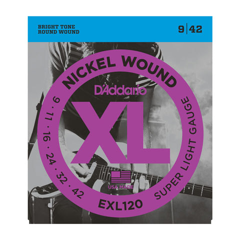 D'Addario- Electric Guitar Strings #EXL120 - Round Wound - Super Light