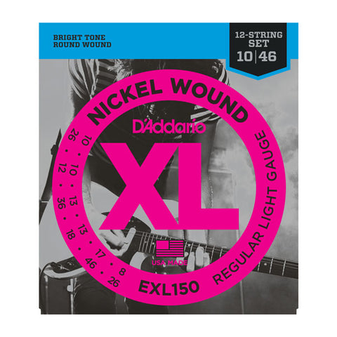 D'Addario- Electric Guitar Strings #EXL150 - Round Wound - 12 String Electric Light