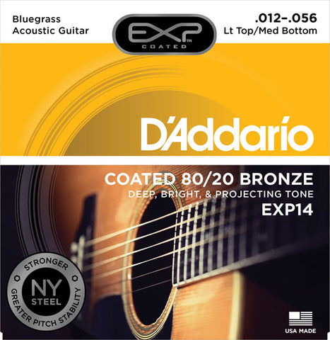 D'addario - EXP14 - Bluegrass Coated Acoustic 80/20 Bronze