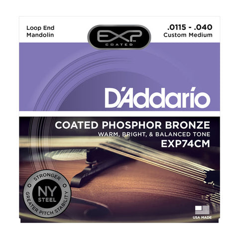 D'Addario - Coated Mandolin Strings - EXP74CM (Custom Medium .0115-.040)