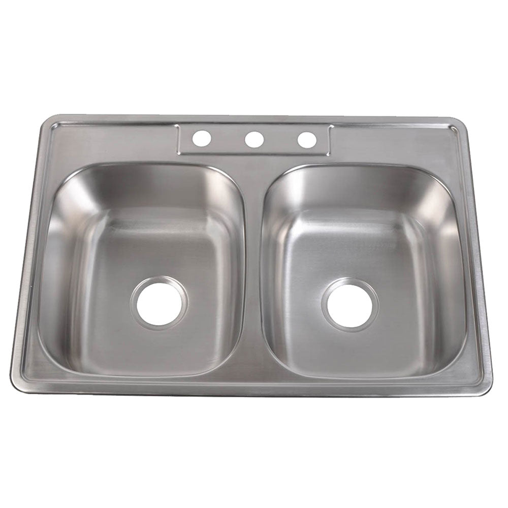 Stainless Steel Kitchen Sink 33″W x 22″L x 6″H