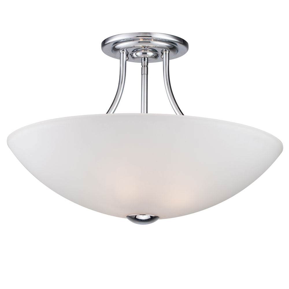 2-Light Polished Chrome Semi-Flush Ceiling Light
