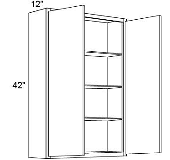 "42"" HIGH WALL CABINETS- DOUBLE DOOR  Shaker White"