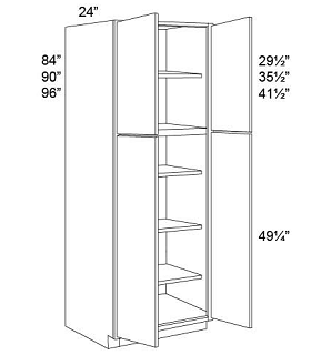 TALL PANTRY - DOUBLE DOOR Shaker White