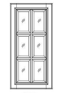 "30""  GLASS DOORS-TRUE DIVIDED LITERS - Fabuwood Elite Merlot"