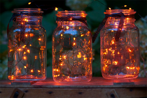 Mason Jars with Orange LED Lights