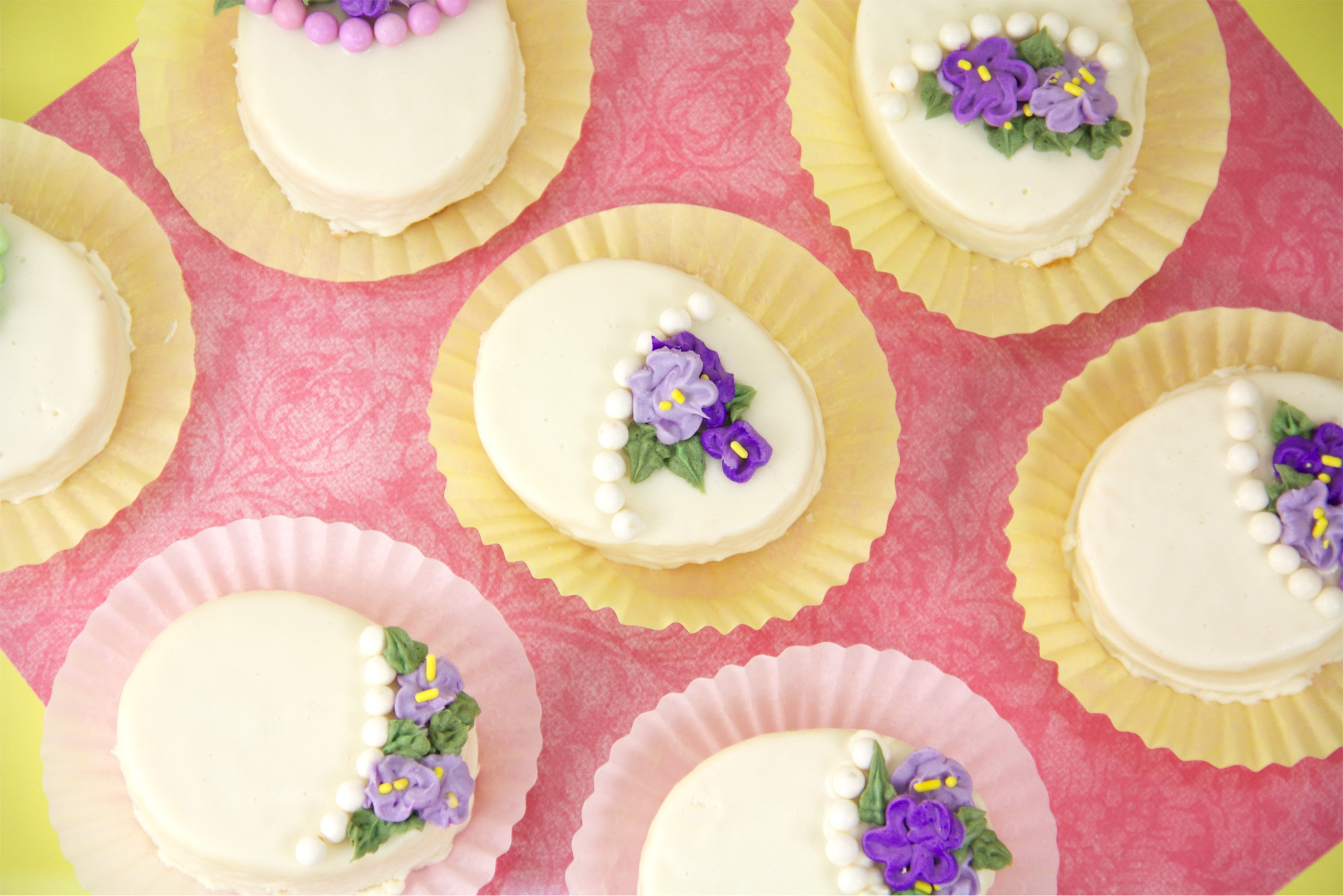 Easy Petite Easter Egg Cakes made with store bought pound cake