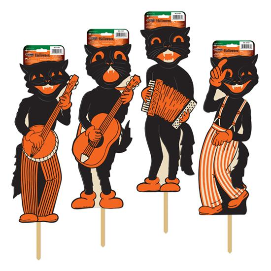 Vintage Halloween Cat Cutouts on Stakes