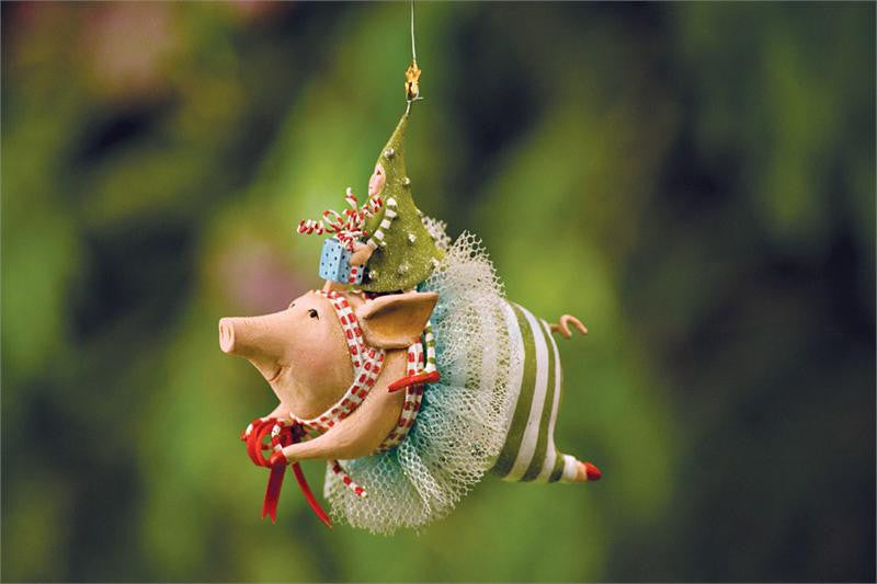 Joyful Flying Pig Ornament