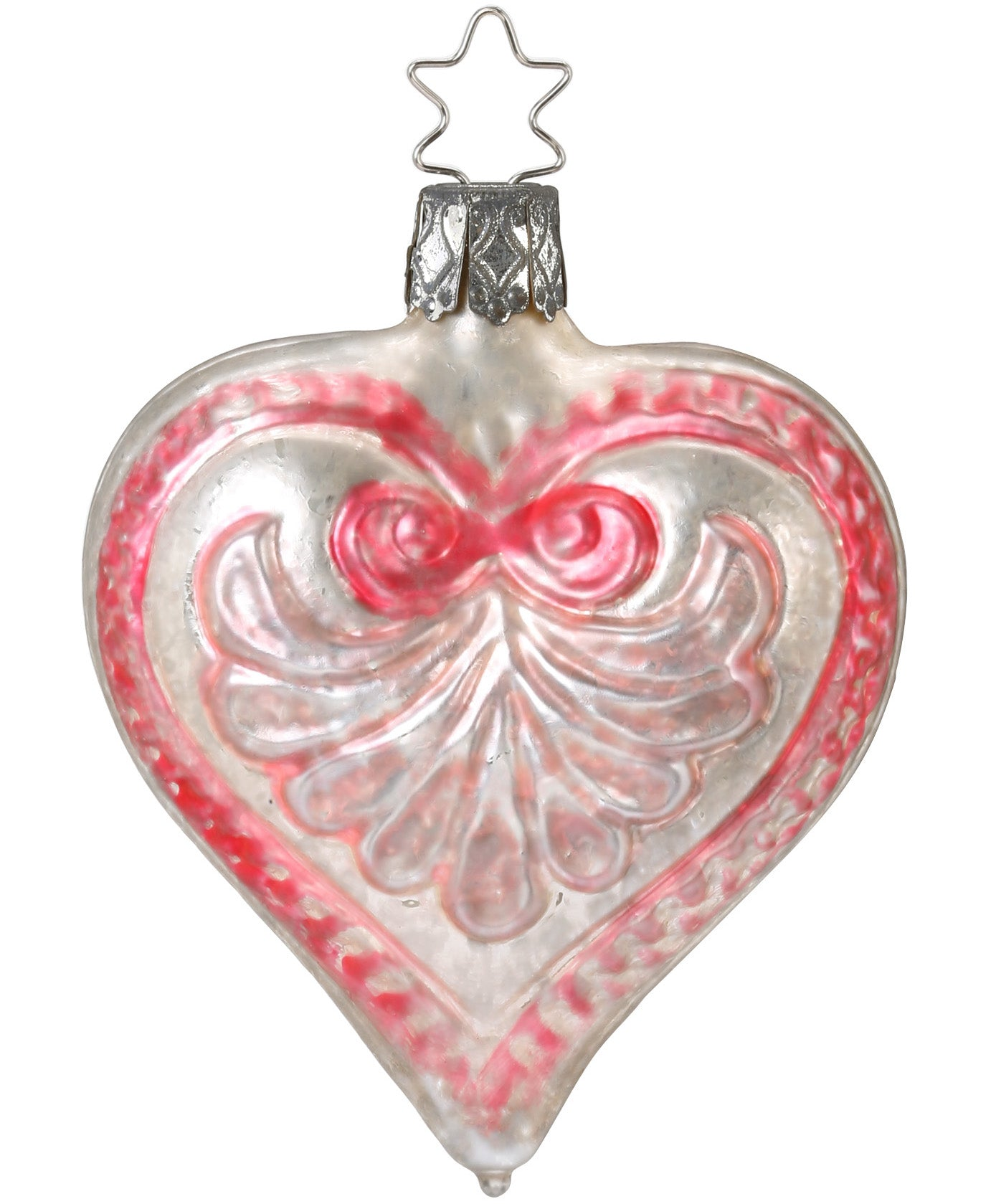Pink on White Scrolled Heart Ornament with Vintage Patina