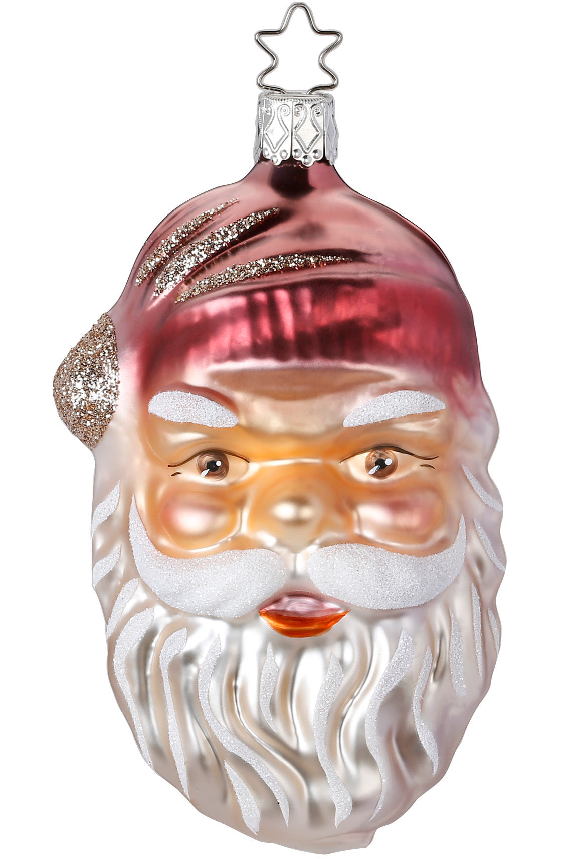 Pink Jolly Santa Ornament, Vintage Inspired