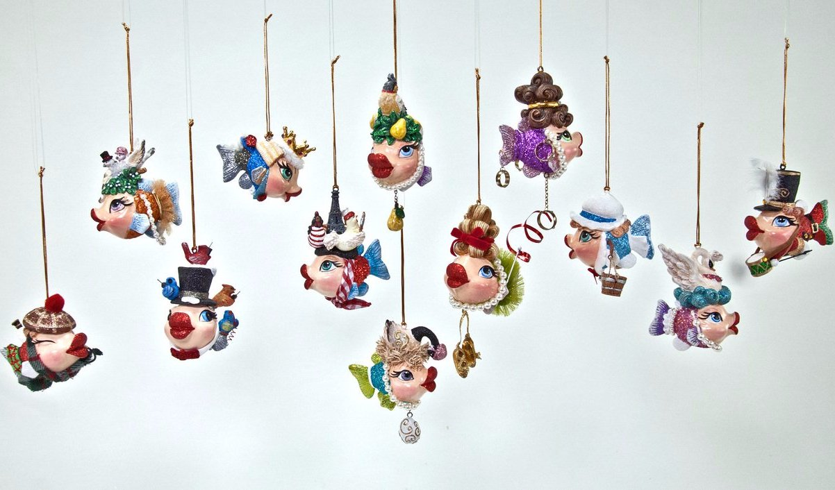 12 Days of Christmas Kissing Fish Ornaments by Katherine\'s ...