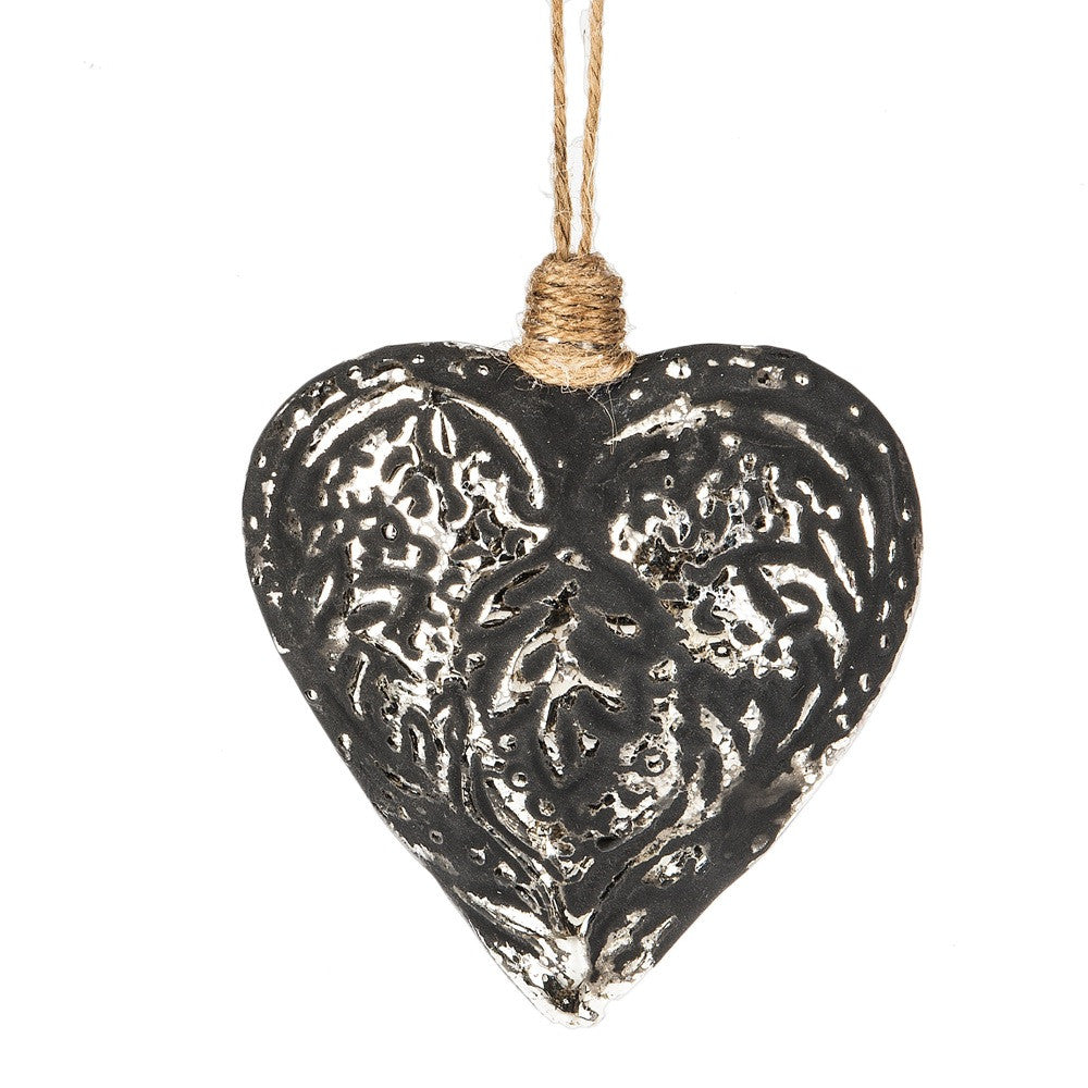 Aged Filigree Heart Ornament