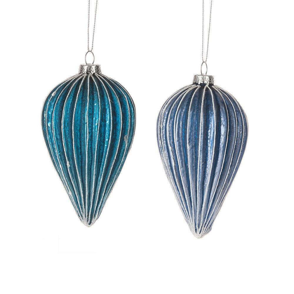 Shades of Blue Accordian Tear Drop Ornaments