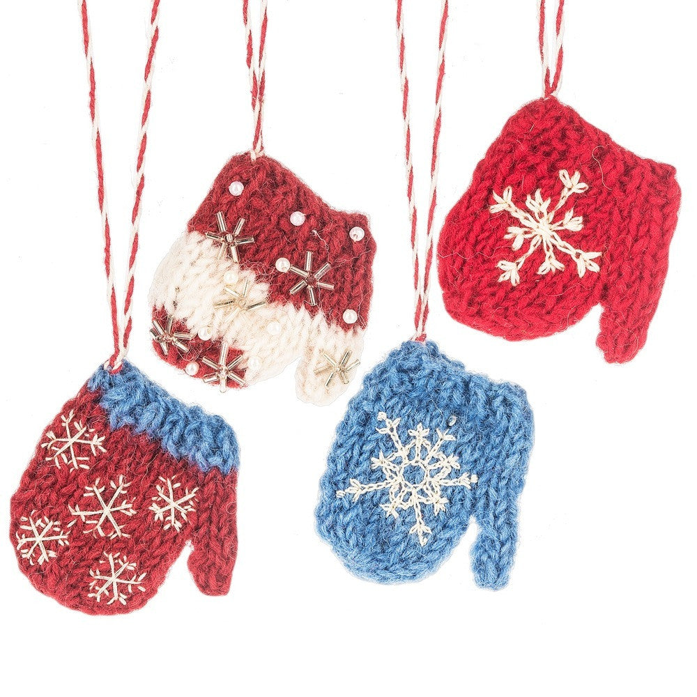 Knitting Pattern For Snowflake Mittens : Knit Wool Snowflake Mitten Ornaments Red Blue White + Garland Project - TheHo...