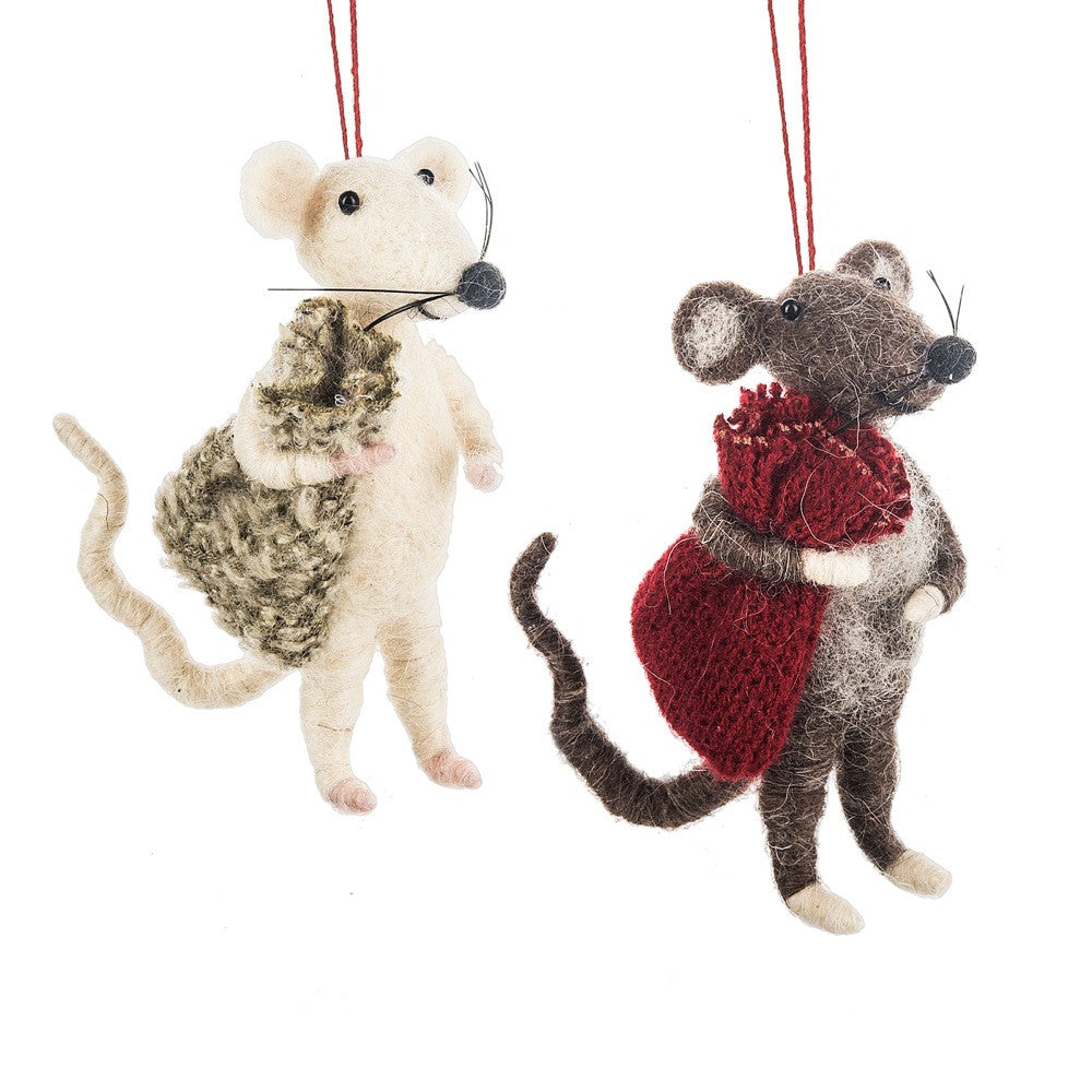 Christmas Mice Ornaments | White Mouse & Brown Mouse