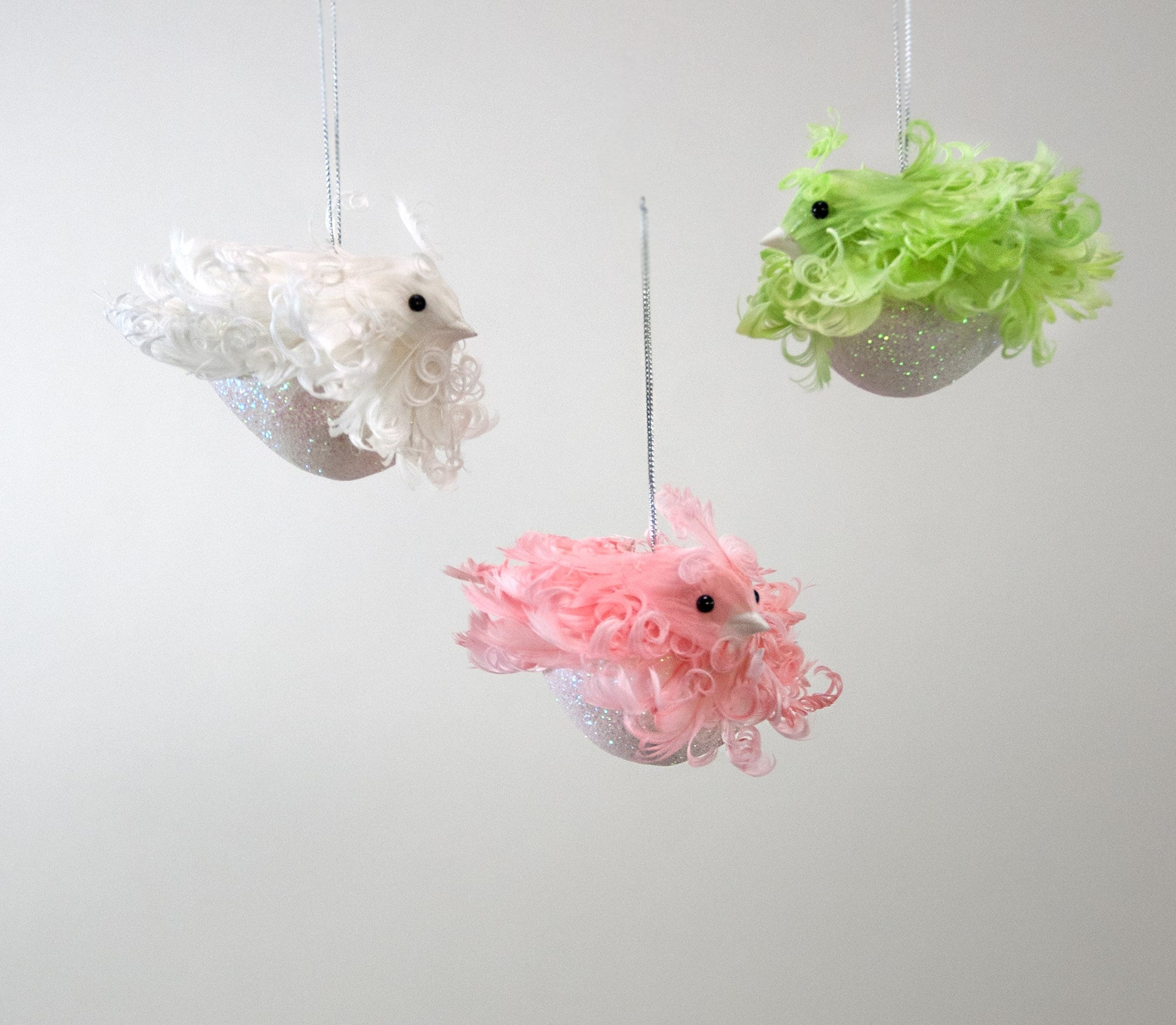Katherine's Collection Sweet Christmas Fluffles Bird Ornaments