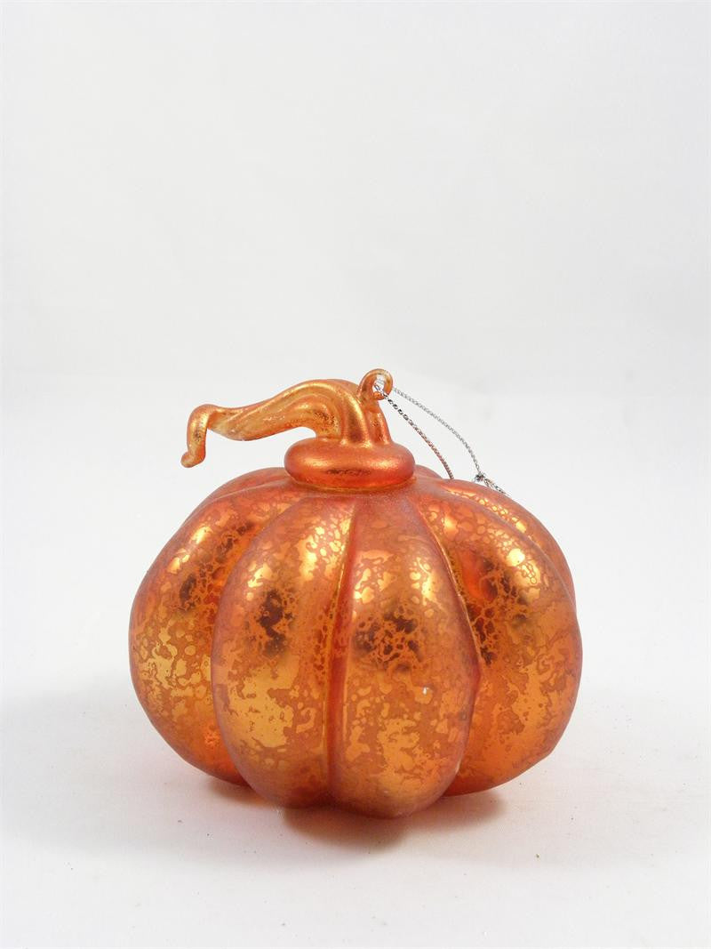 Orange Mercury Glass Pumpkin Ornament