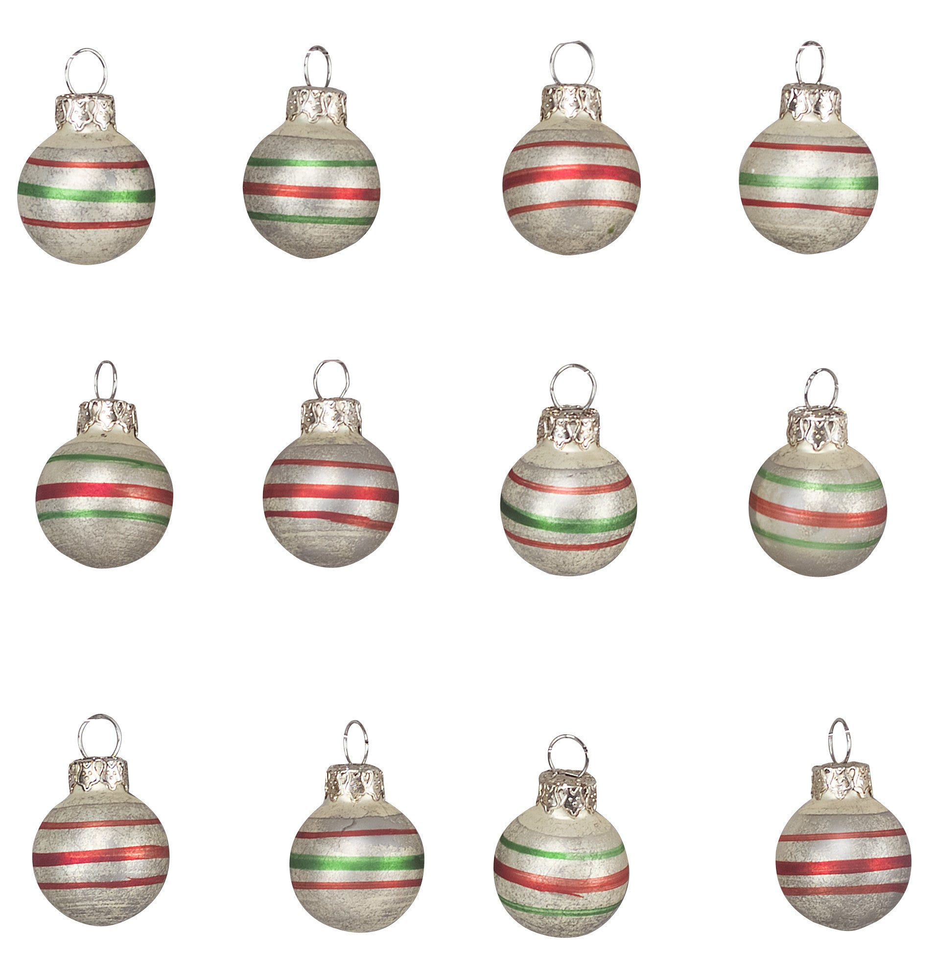 Mini Vintage Stripe Christmas Ornaments