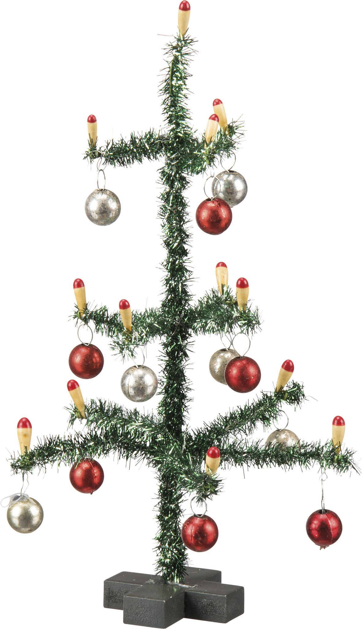 small old fashioned tinsel christmas tree with candles ornaments