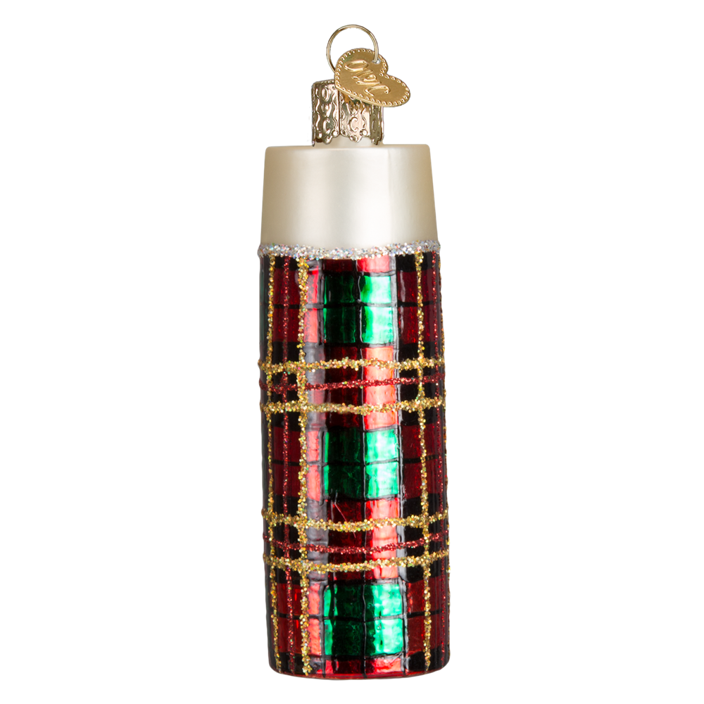 Plaid Thermos Glass Christmas Ornament