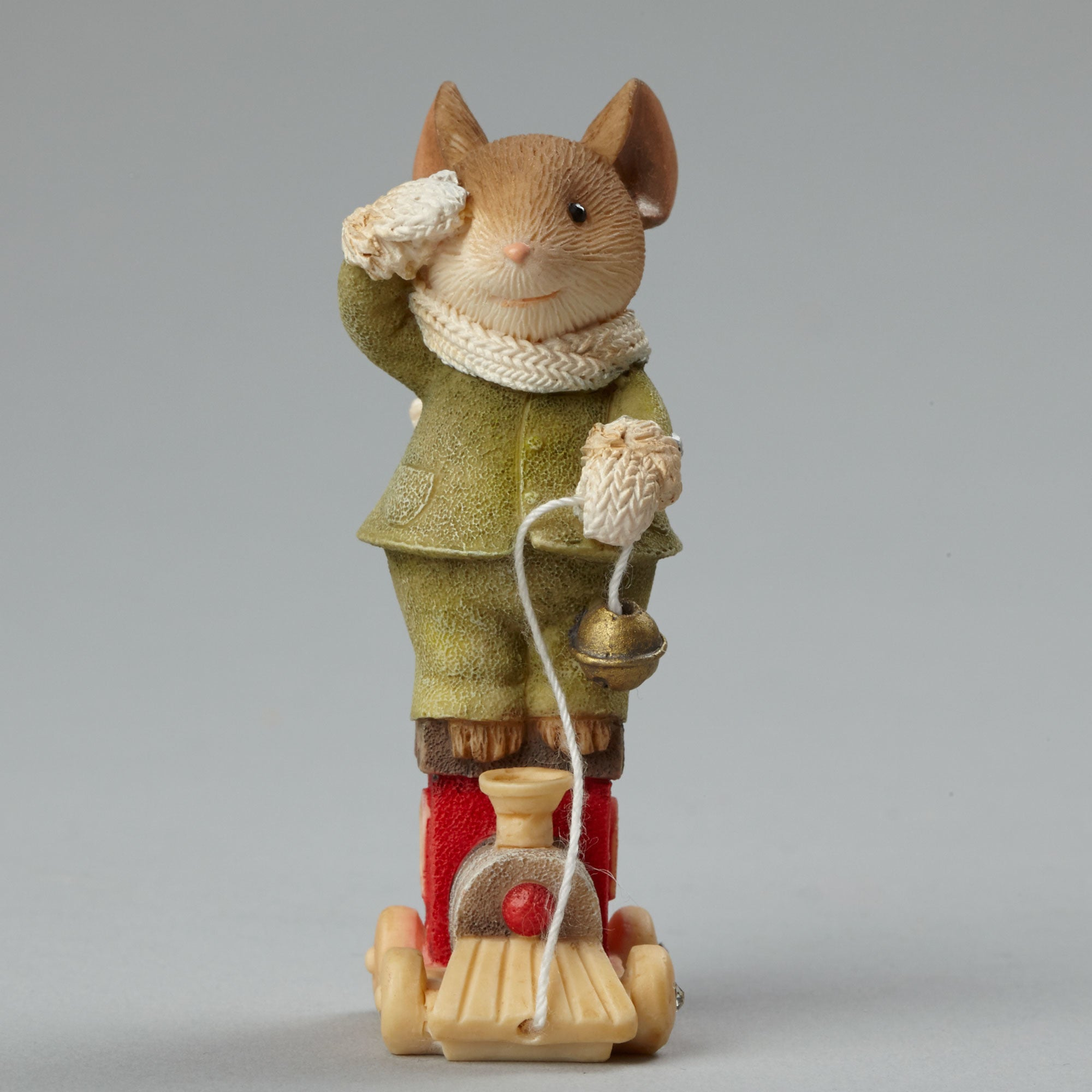 Christmas Mouse on Toy Train Figurine