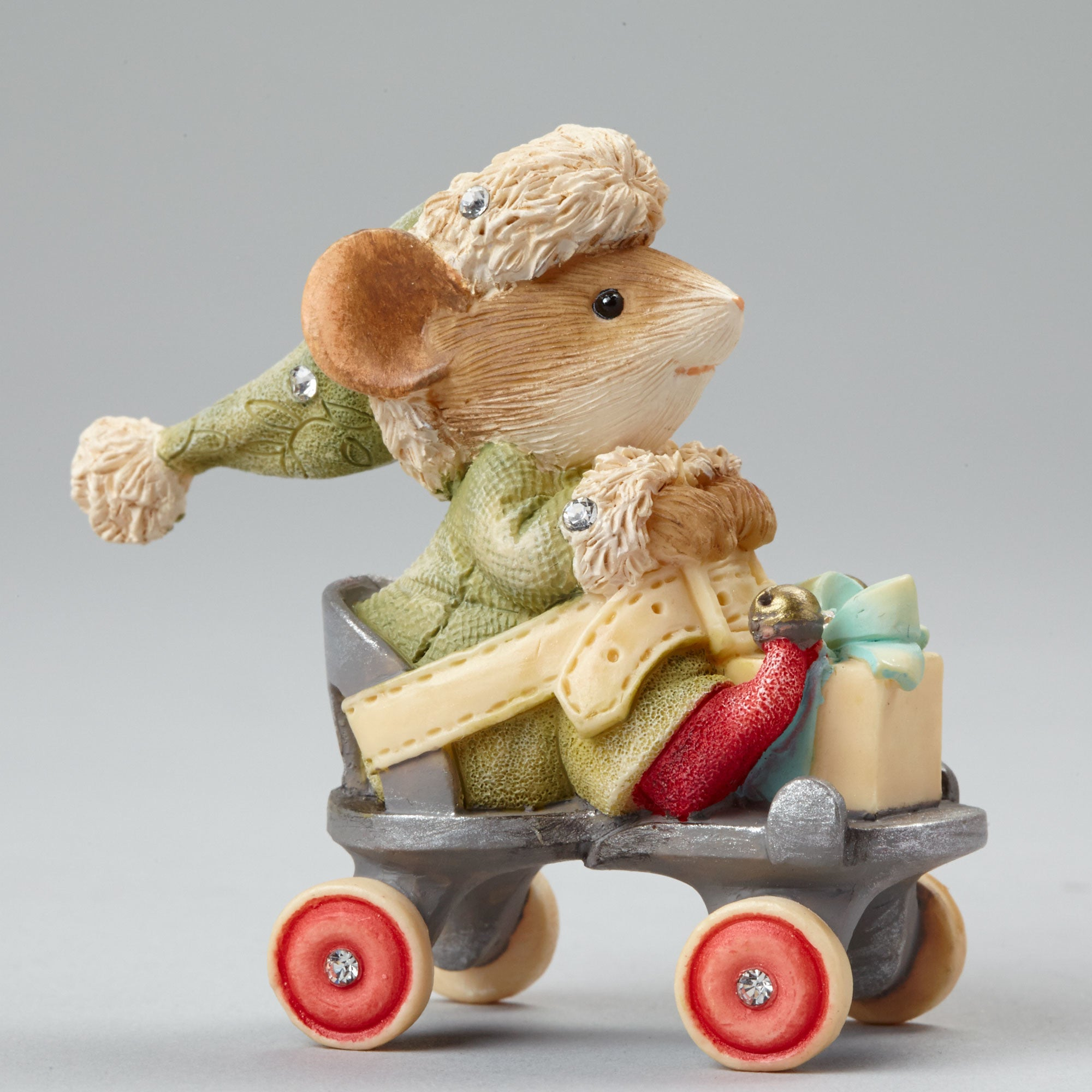 Christmas Mouse on Roller Skate Figurine