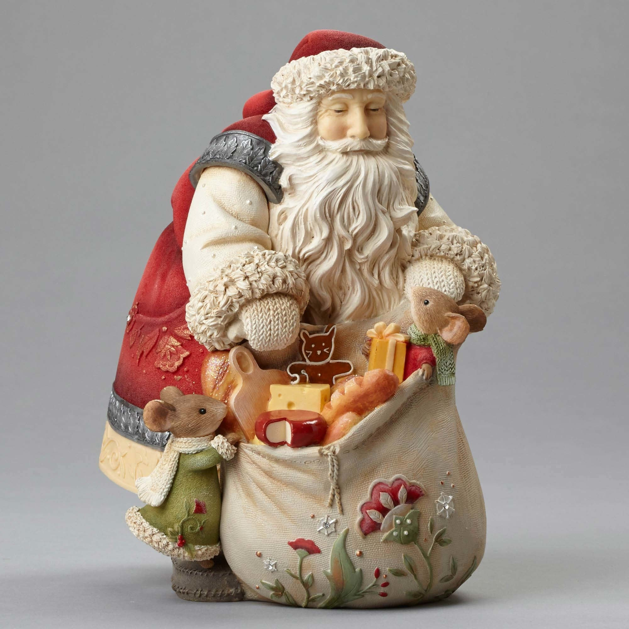 Santa with Mice Gifts Figurine by Heart of Christmas