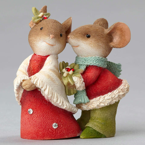 christmas mice couple with holly - Christmas Mouse Decorations