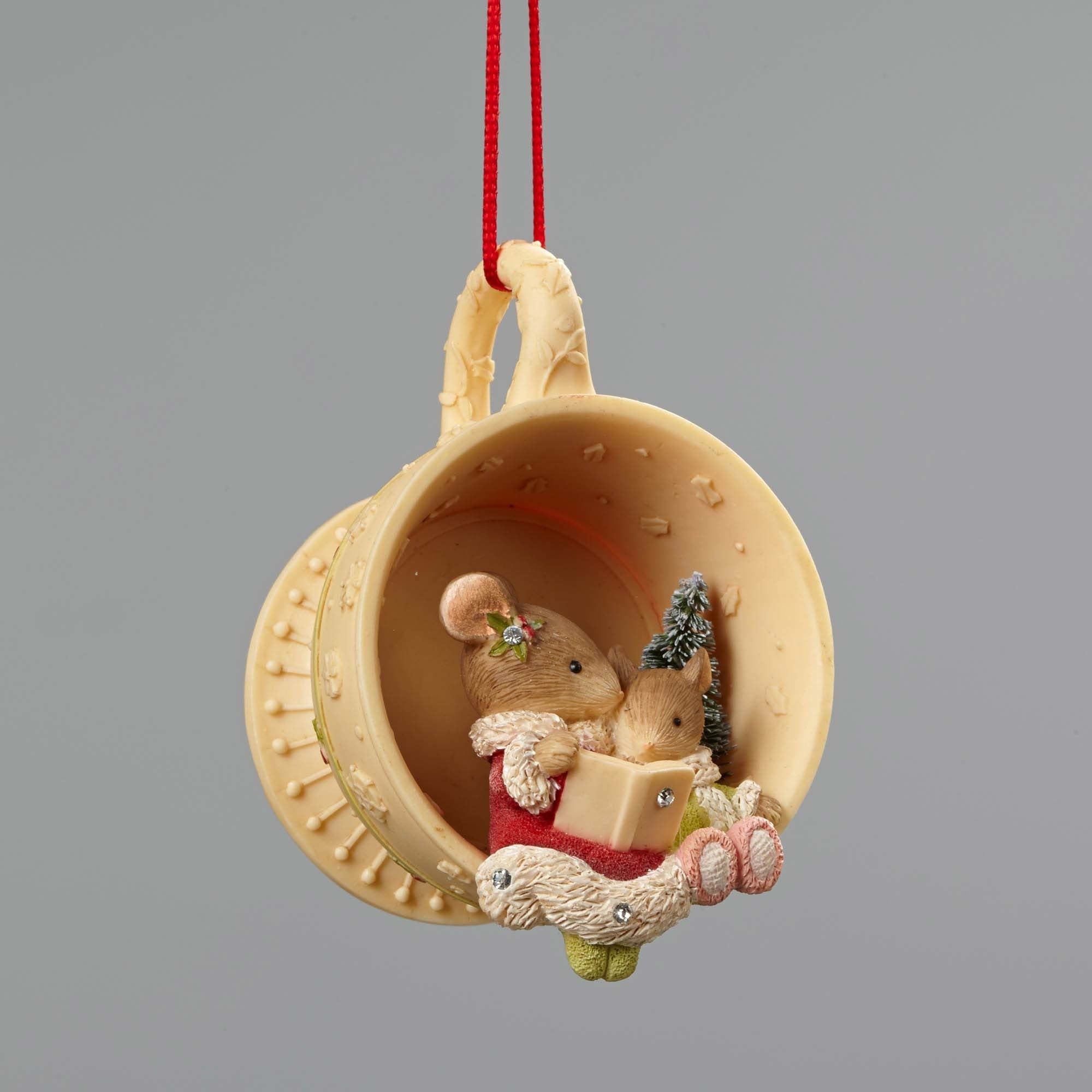 Christmas Mice In Tea Cup Ornament - Sideview