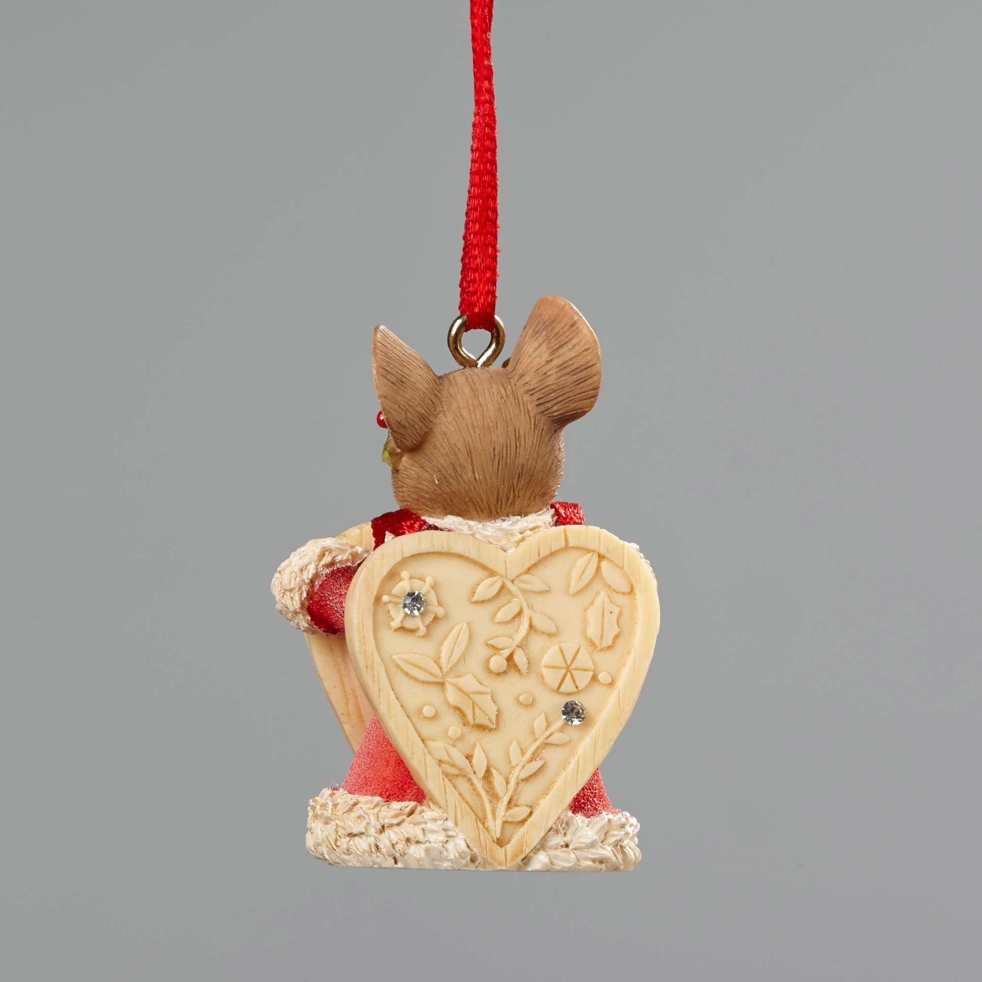 Mouse with Heart Sign Christmas Ornament - Back View