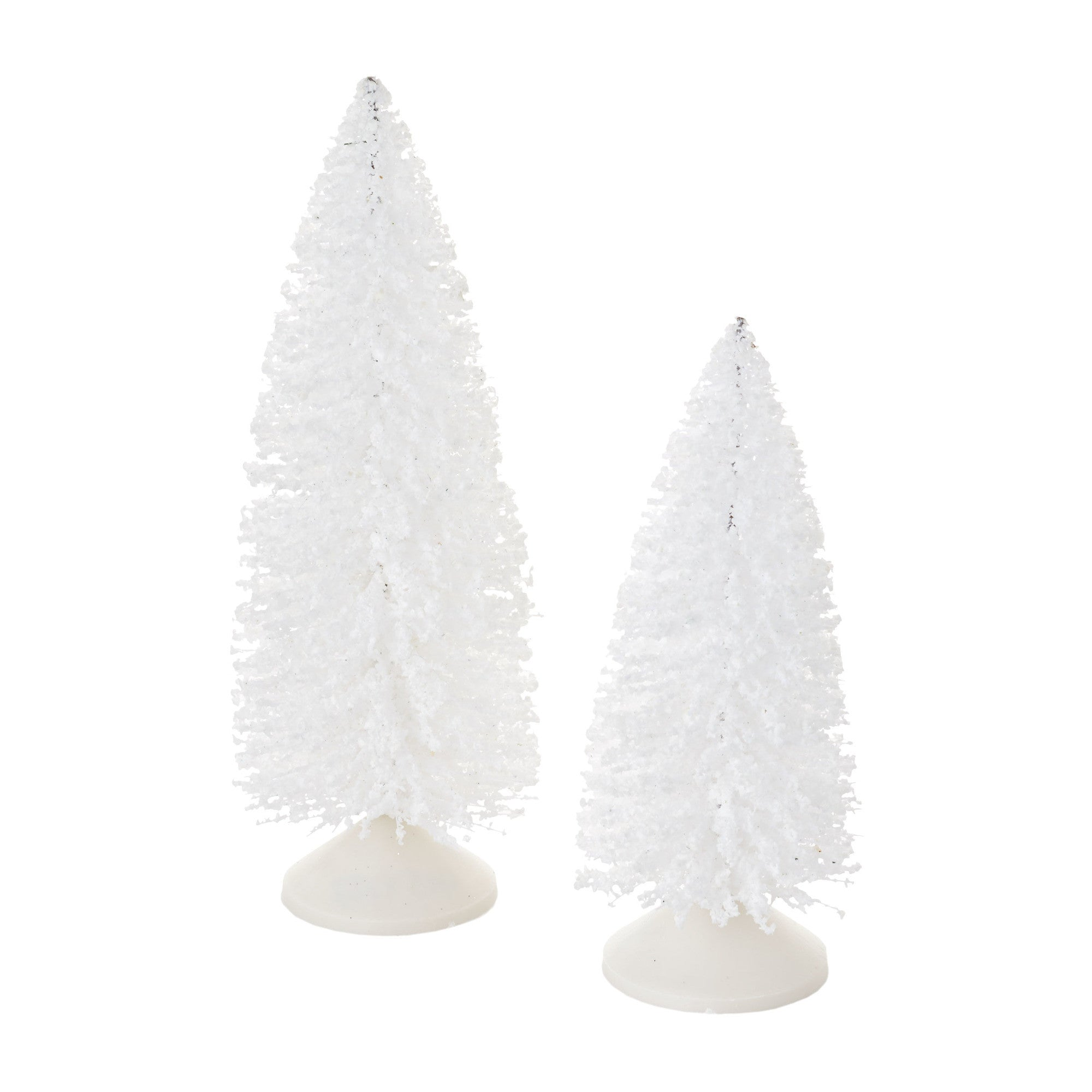 Snowy White Sisal Trees for decorating a Christmas village