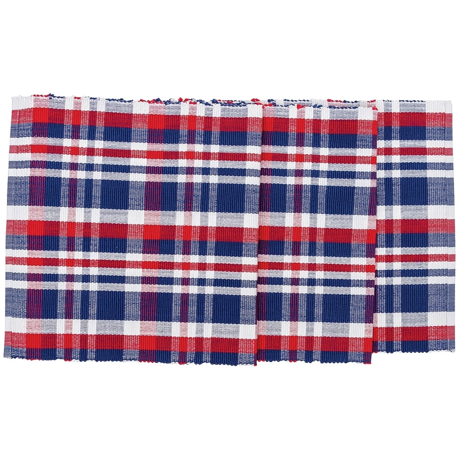Red, White & Blue Plaid Table Runner